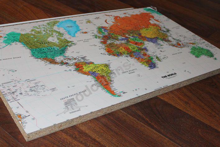 Ahşap Sunta Uv Dünya Harita Baskı